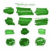 pic of marker pen  - Green marker pen spots and lines isolated on a white background for your design - JPG