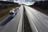 picture of truck  - trucking on scenic highway - JPG