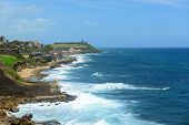 image of san juan puerto rico  - San Juan Castillo San Felipe del Morro El Morro and Old San Juan skyline by the sea - JPG