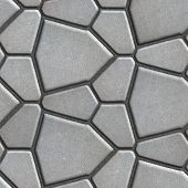 stock photo of slab  - Brown Paving Slabs in the Form Polygons of Different Value - JPG