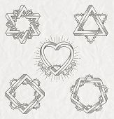 image of impossible  - Tattoo style line art symbols with impossible shape with thorns branches  - JPG