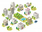 stock photo of awning  - Set of the isometric city buildings - JPG
