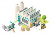 pic of isometric  - Vector isometric factory building icon - JPG