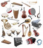 Постер, плакат: Set Of Musical Instruments On A White Background