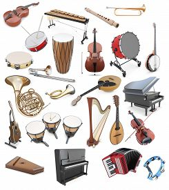 picture of string instrument  - Set of musical instruments on a white background - JPG