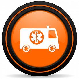 image of ambulance  - ambulance orange icon  - JPG