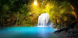 pic of green-blue  - Exotic background of beautiful jungle forest with majestic waterfall falling into blue water lake and sun light rays shining through green leaves of tropical plants ant trees - JPG