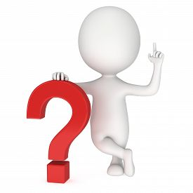 stock photo of punctuation marks  - Man with notice gesture near red question mark - JPG