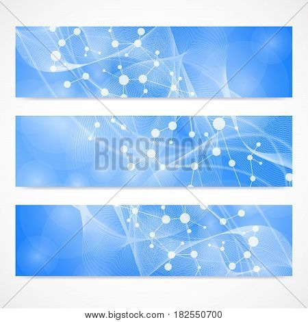 poster of Scientific set of modern vector banners. DNA molecule structure with connected lines and dots. Science vector background. Medical, tecnology, chemistry design