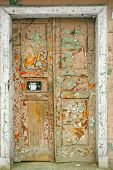 Colorful Door In An Old House