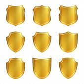 Постер, плакат: Shield Gold Icons Set Shape Emblem