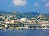 stock photo of messina  - Panorama of Messina, Sicily skyline from the Canal