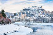 Beautiful View Of Salzburg Skyline With Festung Hohensalzburg And River Salzach In Winter, Salzburge poster