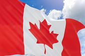 3D Rendering Of Canada Flag Waving On Blue Sky Background poster