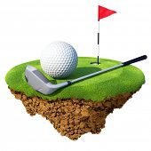 Golf club, ball, flagstick and hole based on little planet. Concept for golf club or competition des