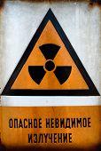 Russian Beware Of Radiation Sign In Metal