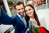 Its Shopping Time With  Sales And Fun. Cute Selfie Portrait Of Cheerful  Successful Happy Young Lov poster