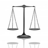 stock photo of scales justice  - black and white photo of a metal balance - JPG