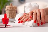 Hand Care. Beautiful Manicure, Womans Hands With Red Nails poster