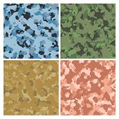 image of camoflage  - red green blue and sand military camoflage background - JPG