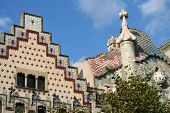 The Tops Of Two Famous Houses In Barcelona