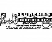 Lunches And Dinners - Retro Ad Art Banner