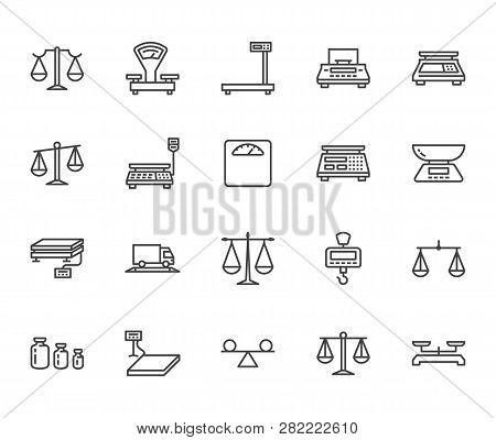 Balance Flat Line Icons Set