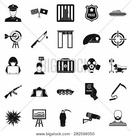 Special Forces Icons Set Simple
