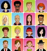 pic of stereotype  - Set of various cartoon faces vector illustration - JPG