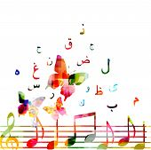 Music Background With Colorful Music Notes And Arabic Islamic Calligraphy Symbols Vector Illustratio poster
