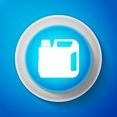 Plastic Canister For Motor Machine Oil Icon Isolated On Blue Background. Oil Gallon. Oil Change Serv poster