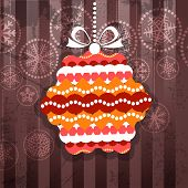 Vintage style greeting card with ornamented christmas bauble