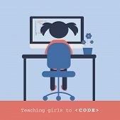 Girl Coding Behind The Laptop. Children Programming Concept. Coding For Kids. Design For Coding Scho poster