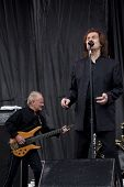 CLARK, NJ - SEPTEMBER 12: Bass player Jim Rodford and Lead singer Colin Blunstone of The Zombies perform at the Union County Music Fest on September 12, 2010 in Clark, NJ.