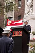 NEW YORK - SEPT 11, 2011: FDNY Chaplain Reverend Stephen Harding speaks at the 10TH anniversary reme