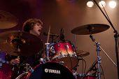 CLARK, NJ - SEPT 17: Drummer Elaine Bradley of the band Neon Trees performs at the Union County Music Fest on September 17, 2011 in Clark, NJ.