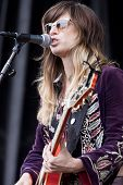 CLARK, NJ - SEPT 17: Singer-songwriter Nicole Atkins & The Black Sea perform at the Union County Music Fest on September 17, 2011 in Clark, NJ.