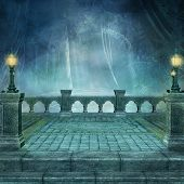 Fantasy Terrace Background In The Middle Of A Dark Forest - 3d Illustration poster