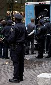 NEW YORK - NOV 17:  Unidentified people arrested at Broad & Beaver Streets on November 17, 2011 in N