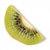 One peeled kiwi fruit slice isolated on white background closeup. Half of kiwi slice. Kiwifruit slic poster