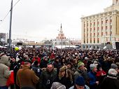 MOSCOW - DECEMBER 24: Participants of the protest manifestation against falsification of the parliam