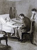 A dying old man -  llustration by M. Shcheglov,