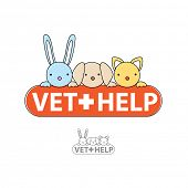 The sign of veterinary care. Vet-help. Vector symbol.