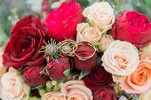 Bouquet Of Flowers. The Brides Bouquet. Bridal Bouquet. Floristics. Wedding Rings. poster