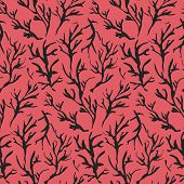 Contrast Black And Red Seamless Pattern With Hand Drawn Inky Branches And Twigs. Monochrome Traditio poster