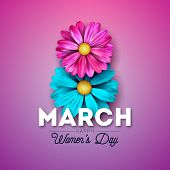 Happy Womens Day Floral Greeting Card Design. International Female Holiday Illustration With Blue An poster