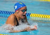 BARCELONA, SPAIN - JUNE 6: Spanish medalist recordwoman swimmer Mireia Belmonte swims breakstroke st