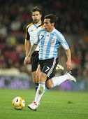 BARCELONA, SPAIN - DEC. 22: Argentinian player Ezequiel Lavezzi in action during the friendly match