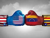 Usa Venezuela Conflict And United States Diplomatic Crisis Or Venezuelan Political Fight Situation A poster