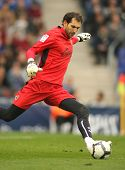 BARCELONA - MARCH 7: Diego Lopez goalkeeper of Villareal during a Spanish League match between Espan